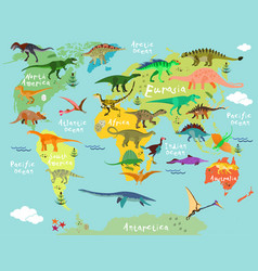 dinosaurs map of the world vector image vector image