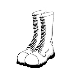 hand drawn military boots vector image vector image