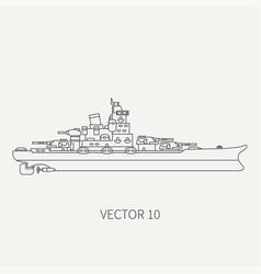 line flat retro icon naval battleship vector image