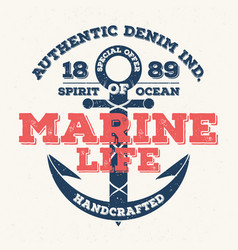 marine life vintage typography for t shirt print vector image