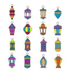 Old arabic light lamp set Muslim Ramadan lanterns vector image