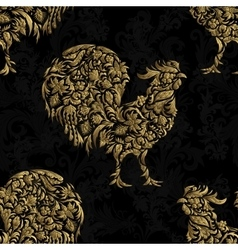 Seamless pattern with golden rooster on black vector image