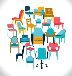 Set of chairs and armchairs set of different chair vector image