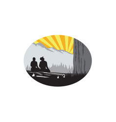 Trampers sitting looking up mountain oval woodcut vector