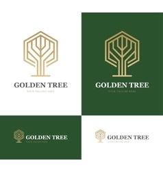 Abstract tree on green background vector image vector image