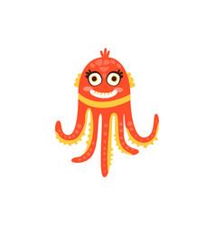cute octopus funny sea creature hand drawn vector image
