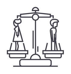 divorceman opposite woman line icon sign vector image vector image