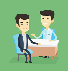 Doctor consulting male patient in office vector