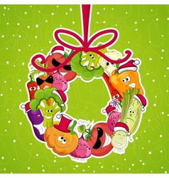 go vegan card design Christmass vector image