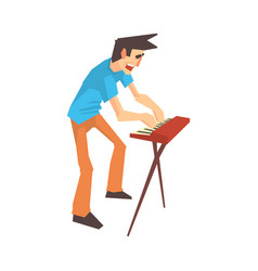 male pianist of rock band playing keyboard cartoon vector image