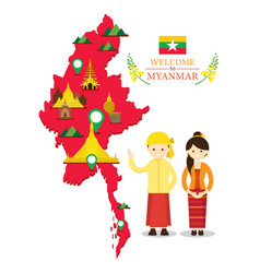 myanmar map and landmarks with people in vector image vector image