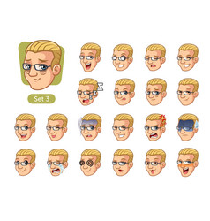 the third set of male facial emotions vector image