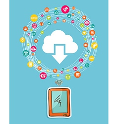 Cloud computing smart phone concept vector image