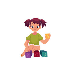 little girl playing with toy alphabet abc blocks vector image vector image