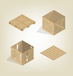 realistic wooden box with pallet isometric vector image