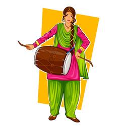 sikh punjabi sardar woman playing dhol and dancing vector image