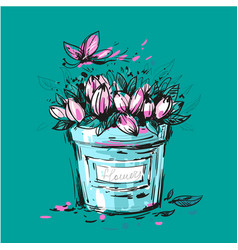 fancy bouquet of tulips in a bucket for you design vector image
