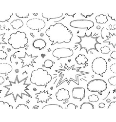 seamless pattern hand drawn set of speech bubbles vector image vector image