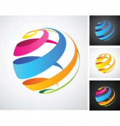 spiral globe icon vector image vector image