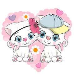 two cute cartoon kittens vector image