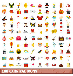 100 carnival icons set flat style vector image