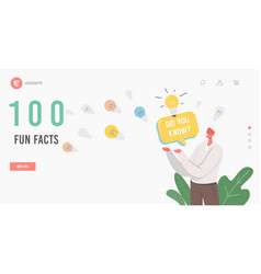 100 fun facts landing page template man with did vector