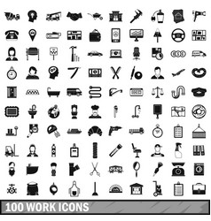100 work icons set simple style vector