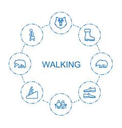 8 walking icons vector