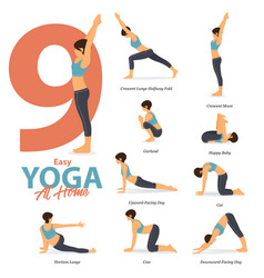 9 yoga poses for easy yoga at home vector