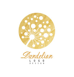 Abstract dandelion logo on rounded golden texture vector