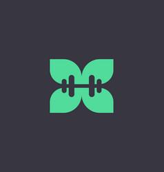 abstract dumbbell leaf flower logo design vector image