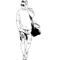 Adult guy athlete with a sports bag vector