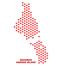 andros island of bahamas map - mosaic of lovely vector image