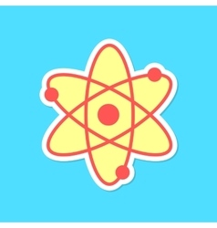 atom sticker with shadow isolated on blue vector image