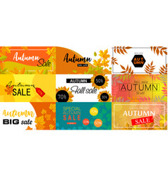 autumn sale fall season concept set flat style vector image