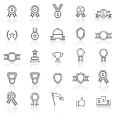 Award line icons with reflect on white vector