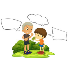 bad young boy with speech balloon vector image