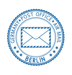 Blue round berlin postmark for envelope vector