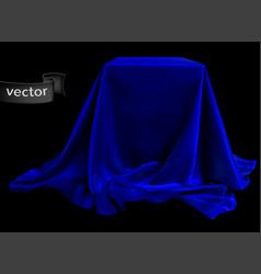 Blue silk fabric covering the podium beautiful vector