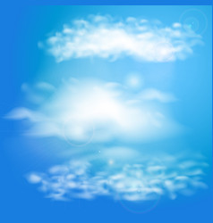 blue sky with clouds set of clouds vector image