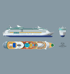 Blueprint cruise ship side top front vector
