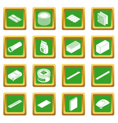 Building materials icons set green square vector