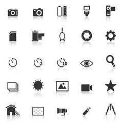 Camera icons with reflect on white background vector