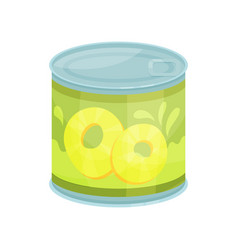 canned pineapple rings tinned food in aluminum vector image