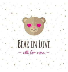 cartoon bear head logo Flat logotype vector image