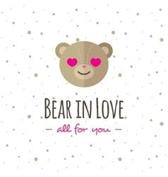 cartoon bear head logo Flat logotype vector image
