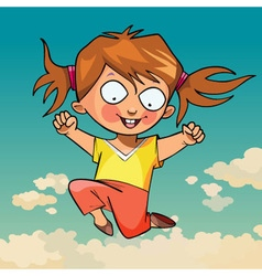 cartoon funny little girl joyfully jumping vector image