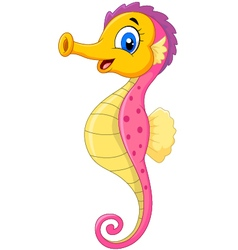 Cartoon watercolor Seahorse with happy face vector
