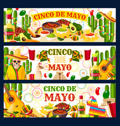 Cinco de mayo mexican greeting banners vector