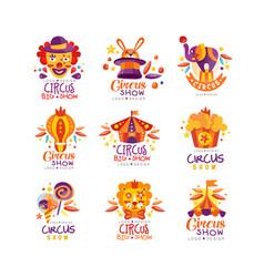 Circus show logo design set carnival festive vector